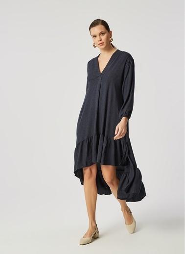 Monamoda Eteği Volanlı Elbise Lacivert